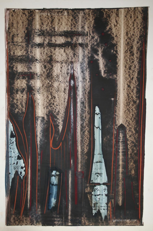 Jean Marie Ledannois Peinture Originale Composition Abstraite Gouache Galerie Ntad