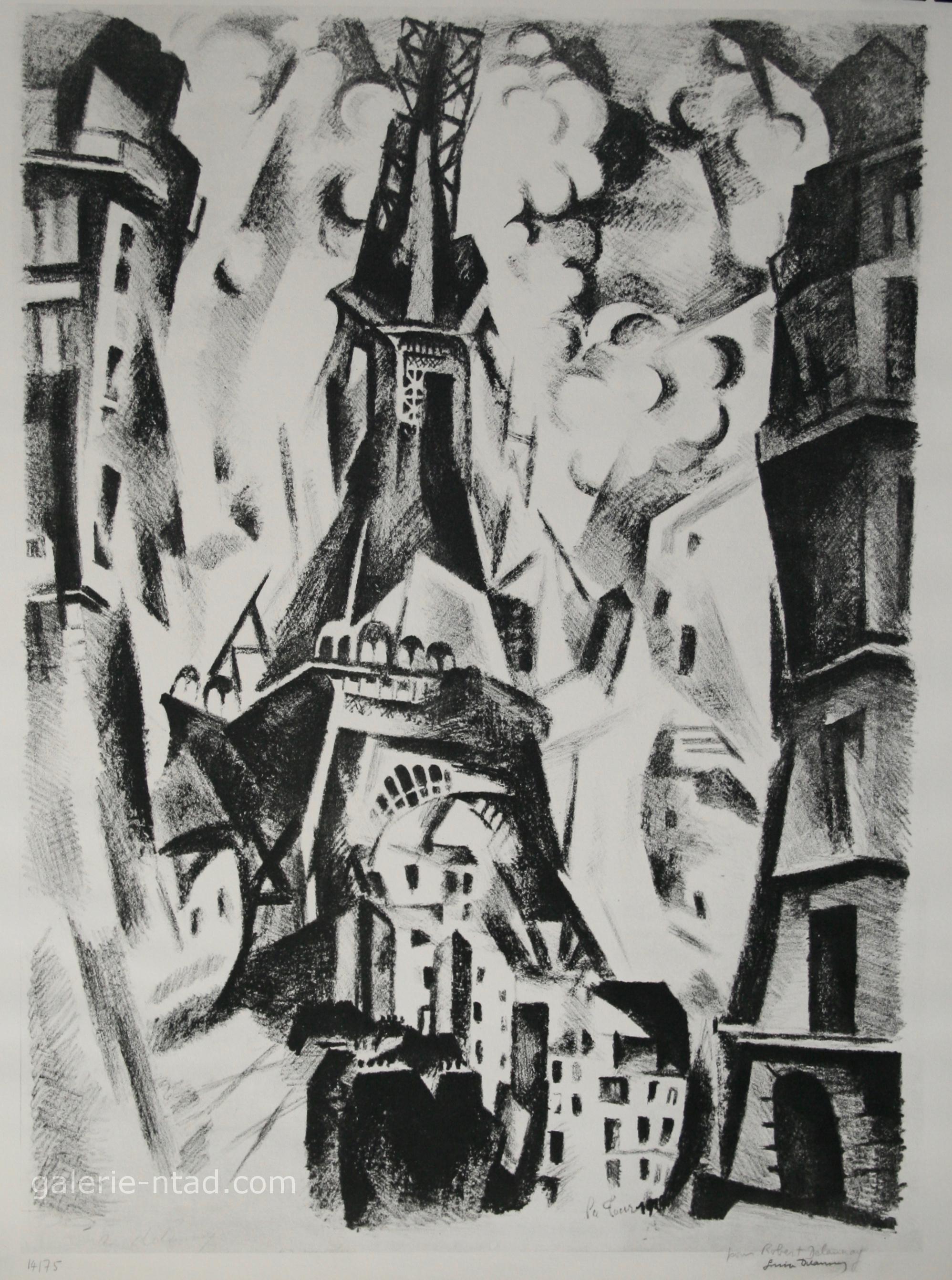 Robert Delaunay D Apres Signee Par Sonia Delaunay Lithographie La Tour Eiffel Galerie Ntad